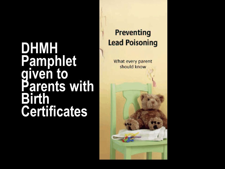 DHMH Pamphlet given to Parents with Birth Certificates
