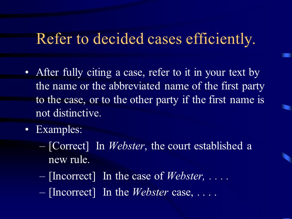 Refer to decided cases efficiently.