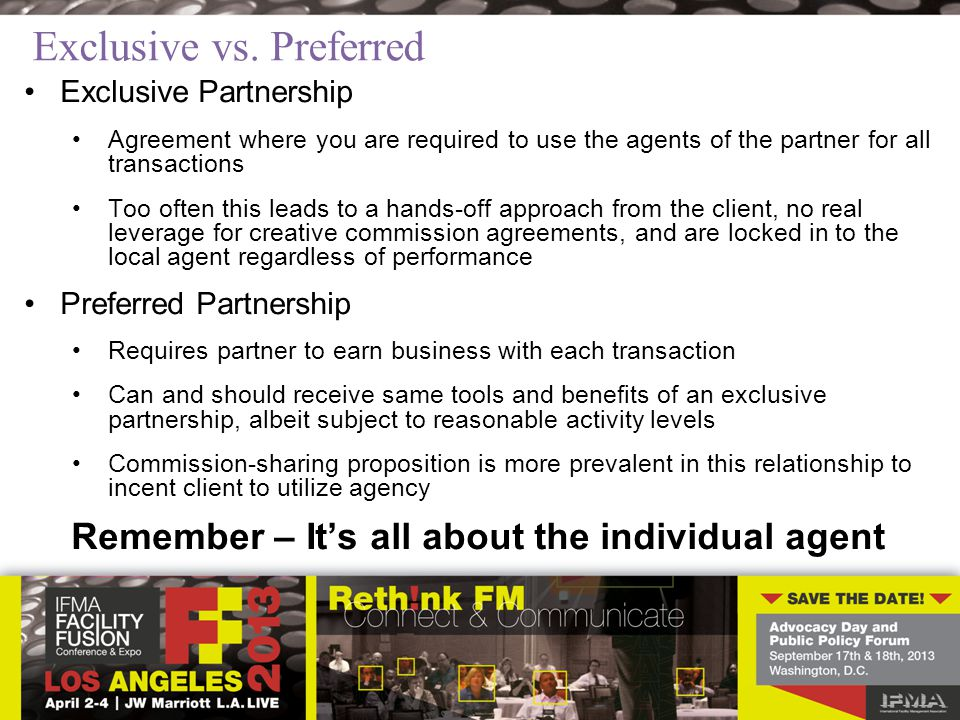 Preferred Partnership – The Good Story Regular communication with a dedicated account team - quarterly Lease management tool and initial abstracts where needed – free and remained so Proactive market monitoring in existing locations – several agency-initiated transactions Access to market reports – full access to library Access to white papers on important real estate topics – full access to library Initial assistance with real estate side projects Annual-threshold commission sharing proposition Significant rebate on HQ extension Got the best dots!