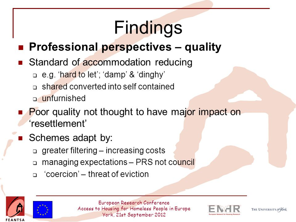 European Research Conference Access to Housing for Homeless People in Europe York, 21st September 2012 Findings Professional perspectives – quality St