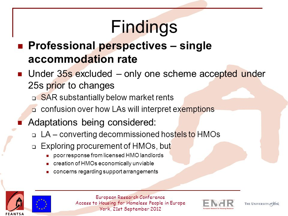 European Research Conference Access to Housing for Homeless People in Europe York, 21st September 2012 Findings Professional perspectives – single acc