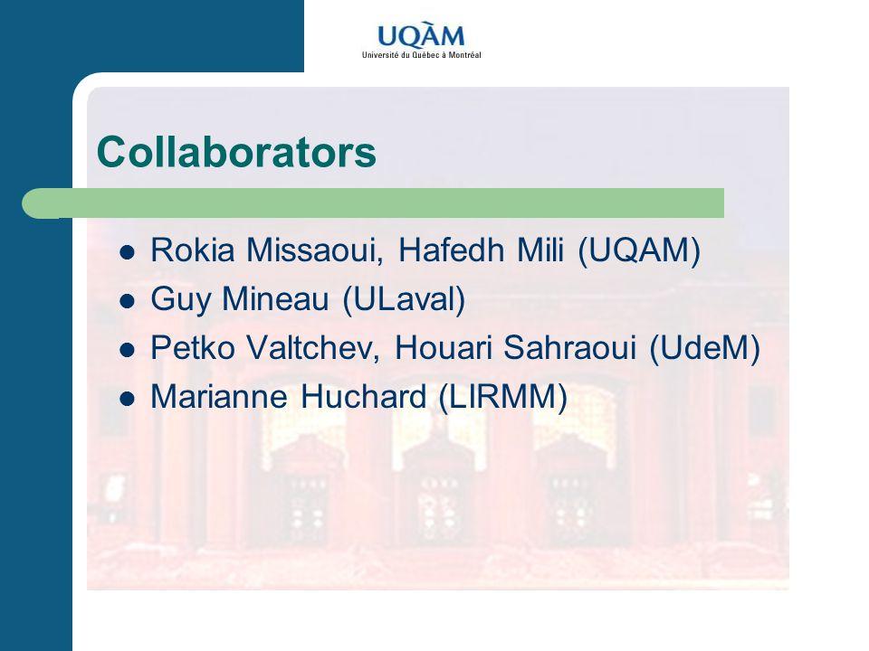 Collaborators Rokia Missaoui, Hafedh Mili (UQAM) Guy Mineau (ULaval) Petko Valtchev, Houari Sahraoui (UdeM) Marianne Huchard (LIRMM)