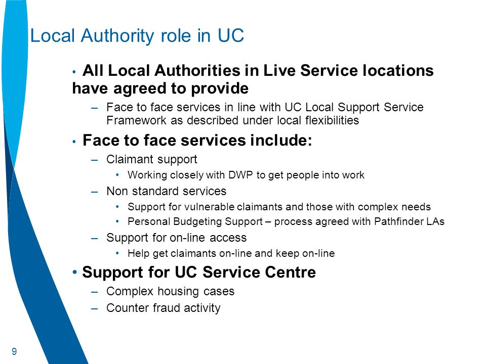 10 Local Support Service Framework – Key role for Partners –Provides a structure for the delivery of local support services to individuals needing additional help with the new demands of Universal Credit.