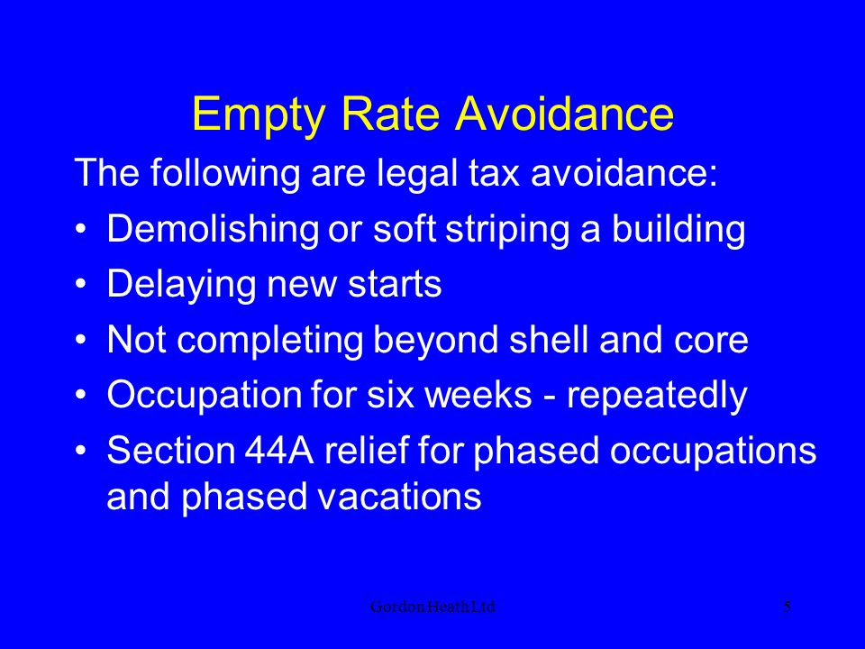 Gordon Heath Ltd36 Section 44A Successive apportionments under section 44A generate successive periods of 3 or 6 months relief, whether they include some or all of a previous apportionment, or not Can be used for phased occupations or vacations