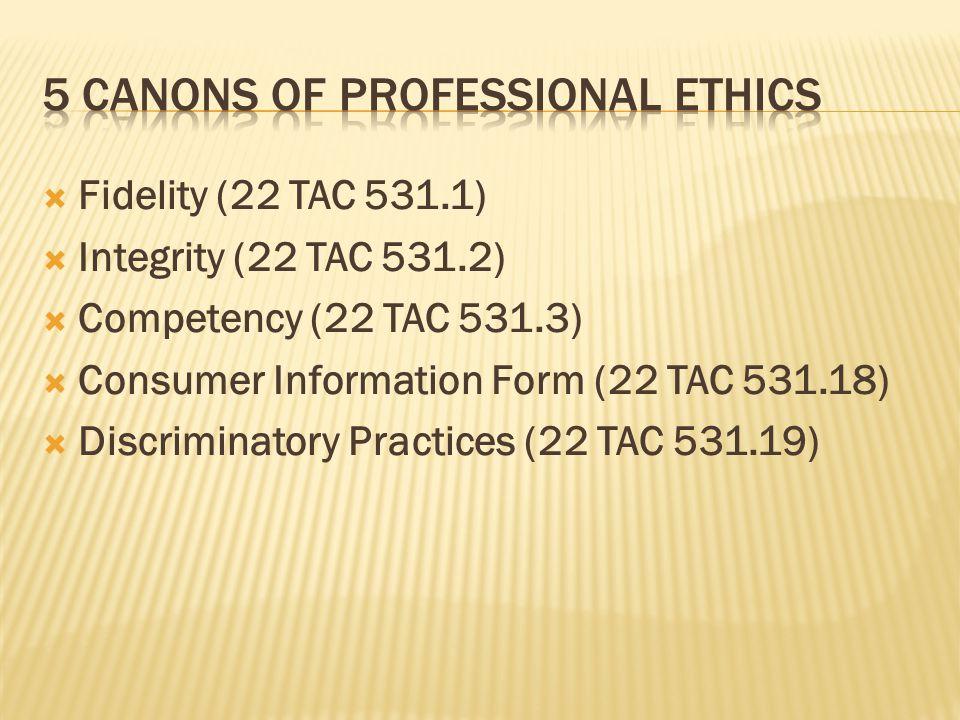  Fidelity (22 TAC 531.1)  Integrity (22 TAC 531.2)  Competency (22 TAC 531.3)  Consumer Information Form (22 TAC 531.18)  Discriminatory Practices (22 TAC 531.19)