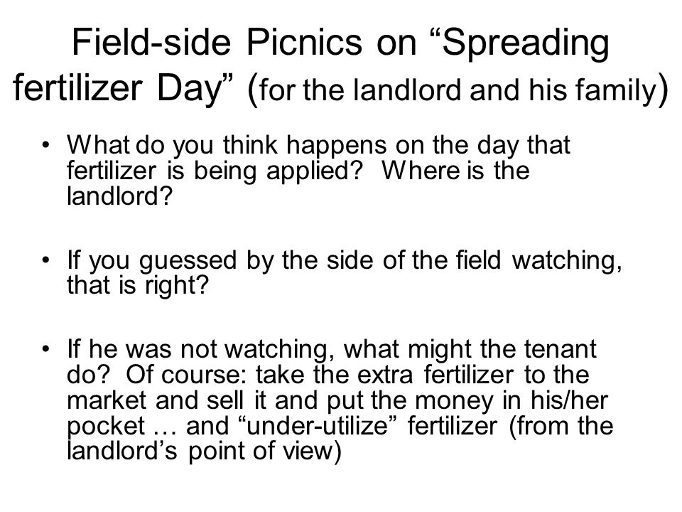 Field-side Picnics on Spreading fertilizer Day ( for the landlord and his family ) What do you think happens on the day that fertilizer is being applied.
