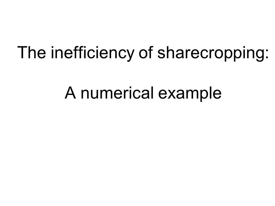 The inefficiency of sharecropping: A numerical example