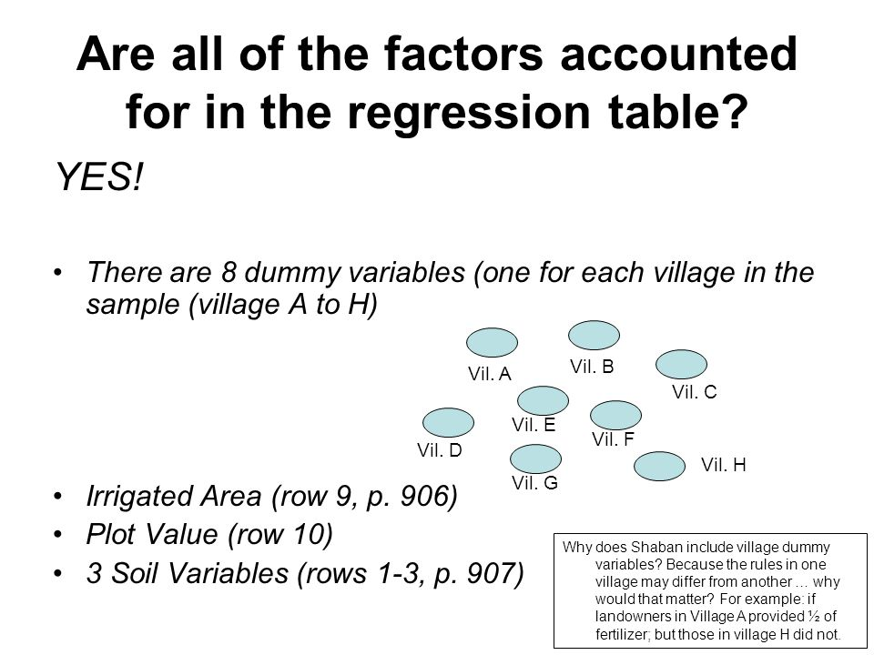 Are all of the factors accounted for in the regression table? YES! There are 8 dummy variables (one for each village in the sample (village A to H) Ir