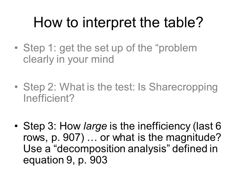 "How to interpret the table? Step 1: get the set up of the ""problem clearly in your mind Step 2: What is the test: Is Sharecropping Inefficient? Step 3"