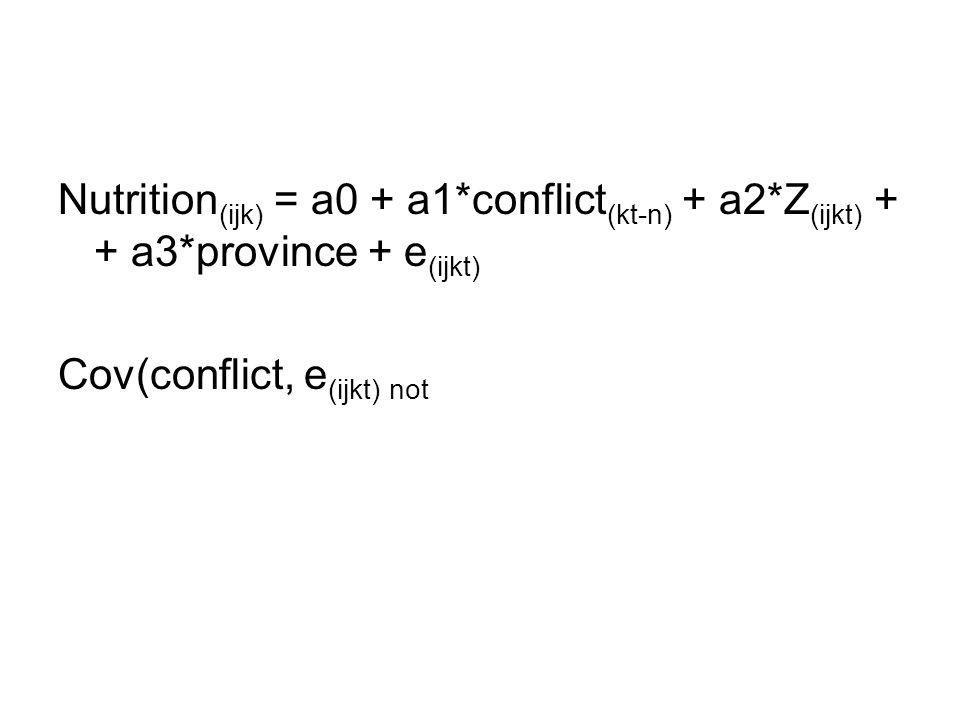 Nutrition (ijk) = a0 + a1*conflict (kt-n) + a2*Z (ijkt) + + a3*province + e (ijkt) Cov(conflict, e (ijkt) not