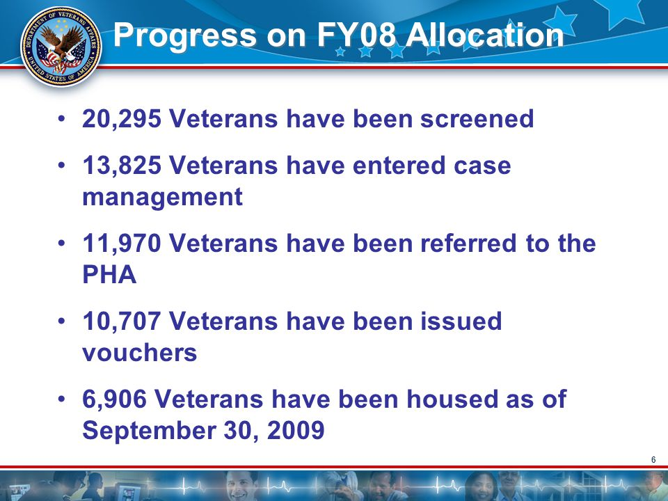 6 Progress on FY08 Allocation 20,295 Veterans have been screened 13,825 Veterans have entered case management 11,970 Veterans have been referred to th