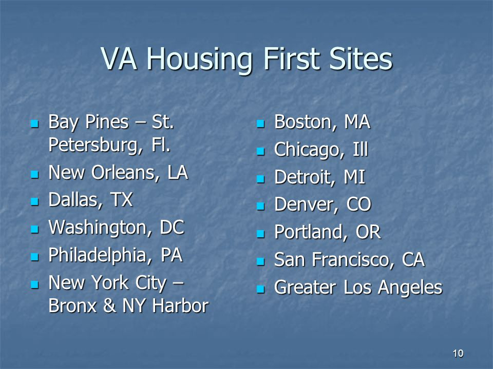 VA Housing First Sites Bay Pines – St. Petersburg, Fl.