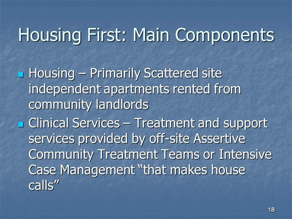 Housing First: Main Components Housing – Primarily Scattered site independent apartments rented from community landlords Housing – Primarily Scattered site independent apartments rented from community landlords Clinical Services – Treatment and support services provided by off-site Assertive Community Treatment Teams or Intensive Case Management that makes house calls Clinical Services – Treatment and support services provided by off-site Assertive Community Treatment Teams or Intensive Case Management that makes house calls 18