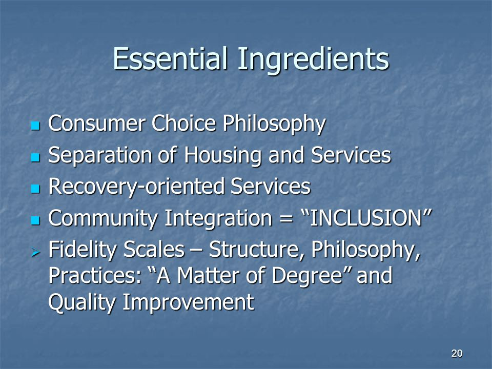 Essential Ingredients Essential Ingredients Consumer Choice Philosophy Consumer Choice Philosophy Separation of Housing and Services Separation of Housing and Services Recovery-oriented Services Recovery-oriented Services Community Integration = INCLUSION Community Integration = INCLUSION  Fidelity Scales – Structure, Philosophy, Practices: A Matter of Degree and Quality Improvement 20