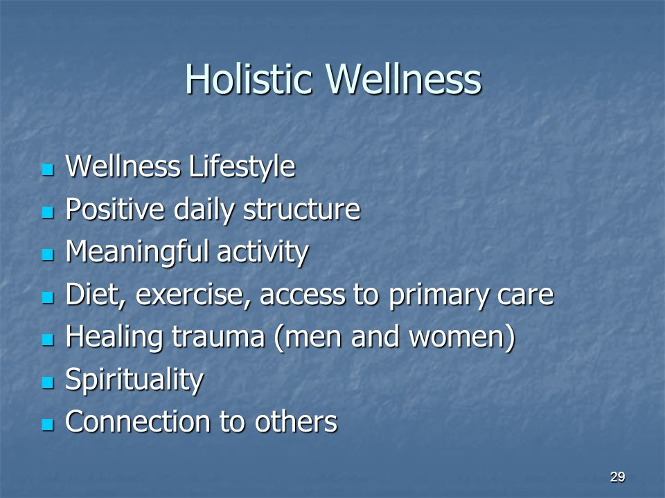 Holistic Wellness Wellness Lifestyle Wellness Lifestyle Positive daily structure Positive daily structure Meaningful activity Meaningful activity Diet, exercise, access to primary care Diet, exercise, access to primary care Healing trauma (men and women) Healing trauma (men and women) Spirituality Spirituality Connection to others Connection to others 29