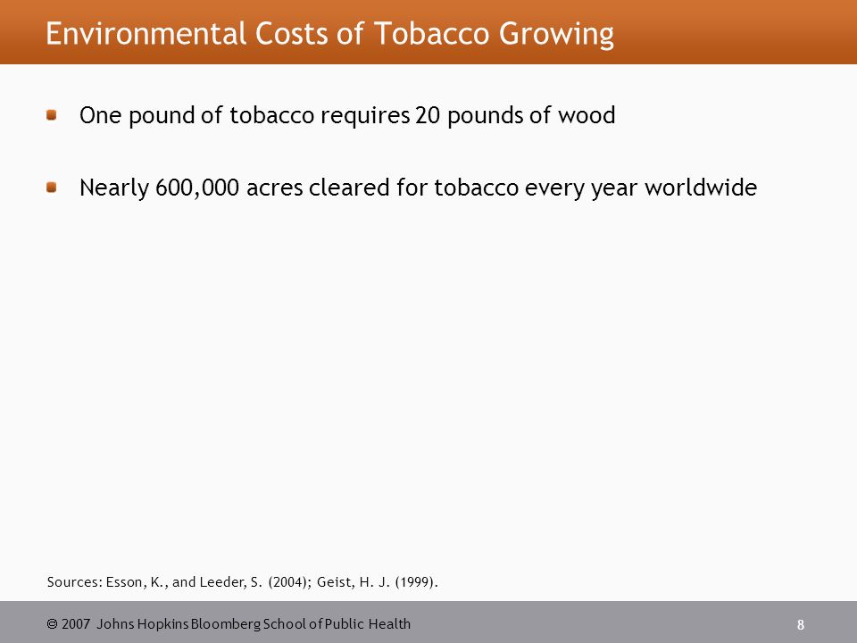  2007 Johns Hopkins Bloomberg School of Public Health 29 Source: The President s Commission on Improving Economic Opportunity in Communities Dependent on Tobacco Production While Protecting Public Health.