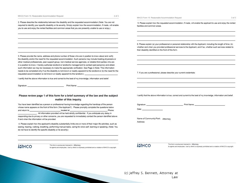 MHCO's Form (Three Pages) © Jeffrey S. Bennett, Attorney at Law