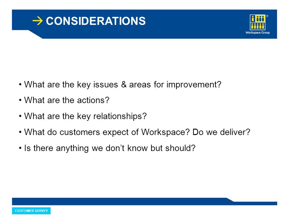 CONSIDERATIONS What are the key issues & areas for improvement? What are the actions? What are the key relationships? What do customers expect of Work