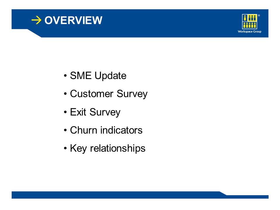 OVERVIEW SME Update Customer Survey Exit Survey Churn indicators Key relationships