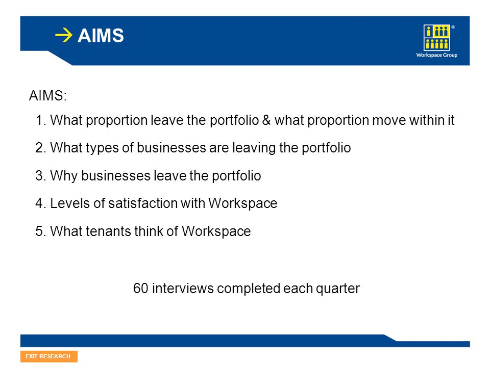 AIMS EXIT RESEARCH 1.What proportion leave the portfolio & what proportion move within it 2.