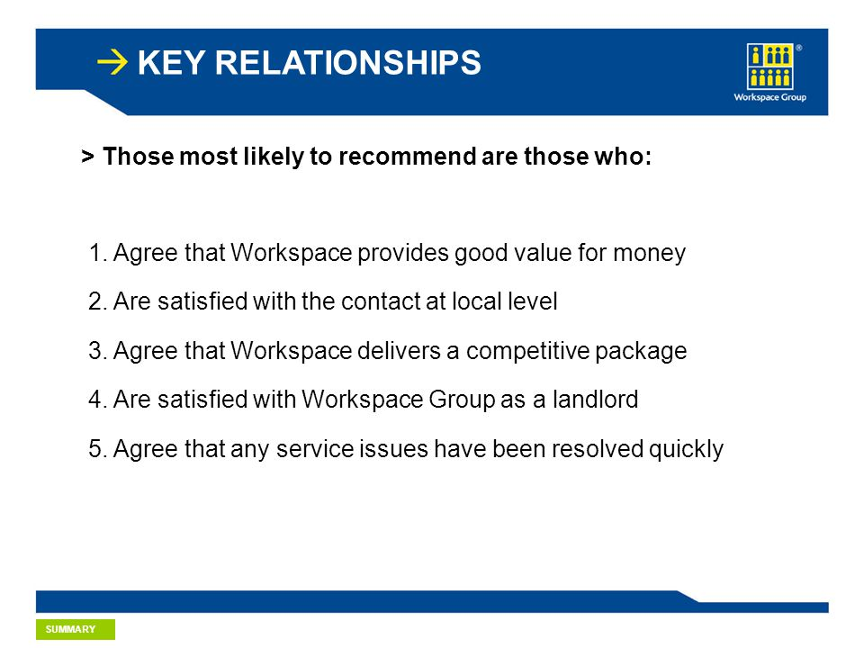 KEY RELATIONSHIPS > Those most likely to recommend are those who: 1.