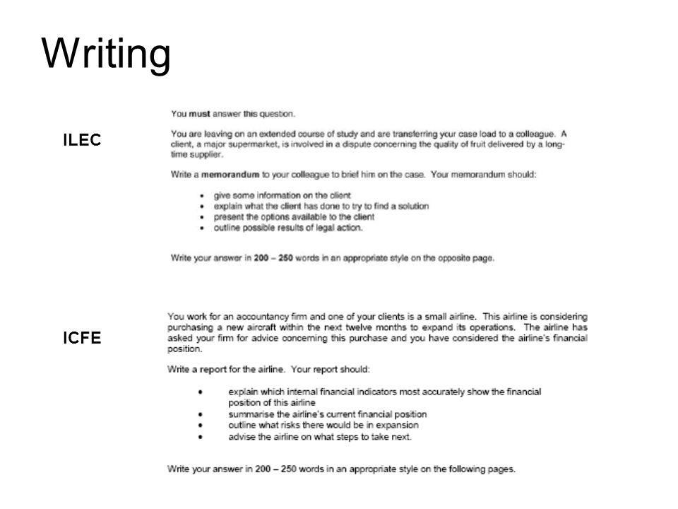 Writing ILEC ICFE