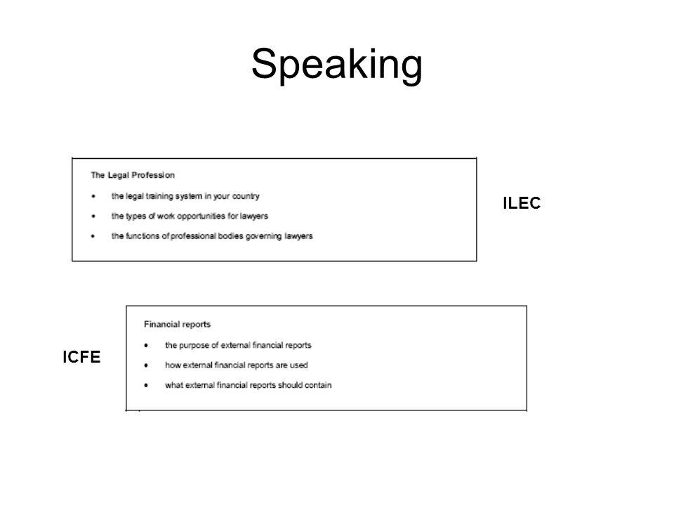 Speaking ICFE ILEC