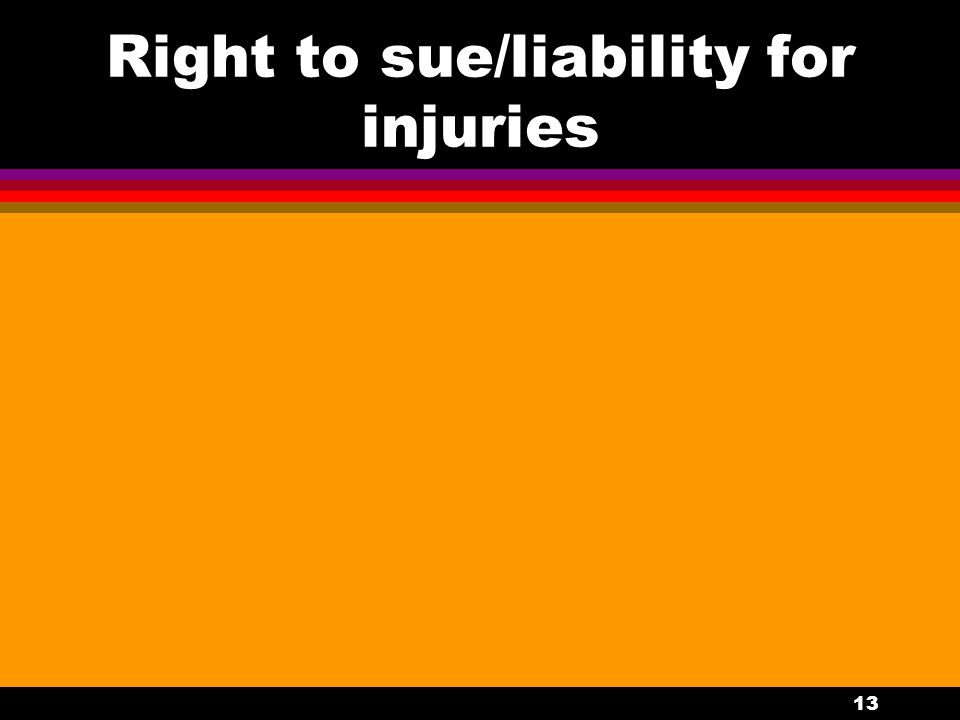 13 Right to sue/liability for injuries