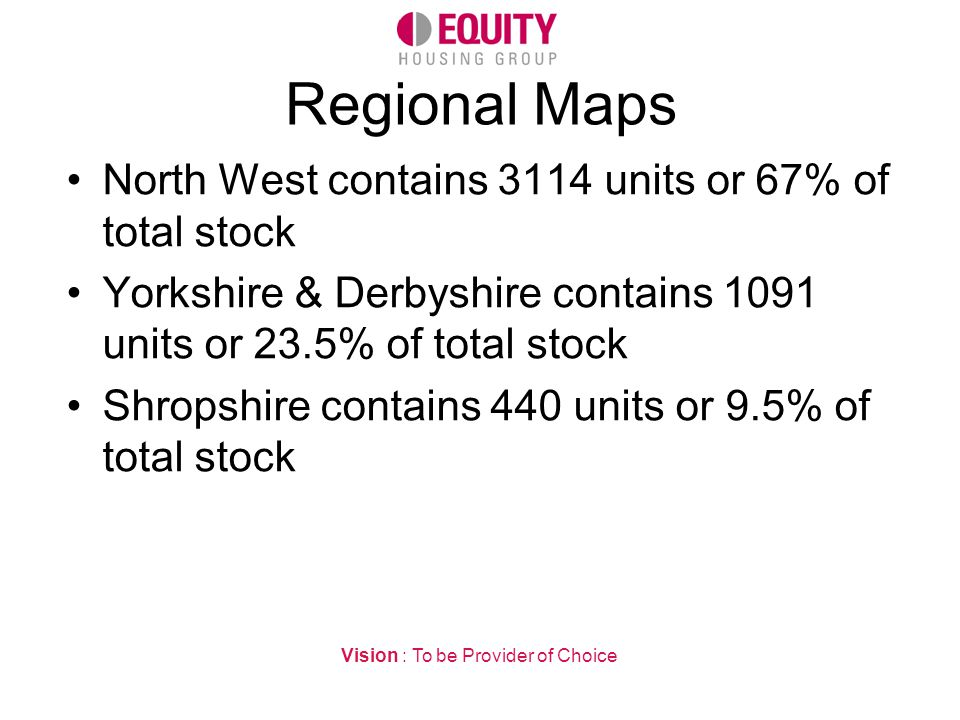 Regional Maps North West contains 3114 units or 67% of total stock Yorkshire & Derbyshire contains 1091 units or 23.5% of total stock Shropshire contains 440 units or 9.5% of total stock Vision : To be Provider of Choice