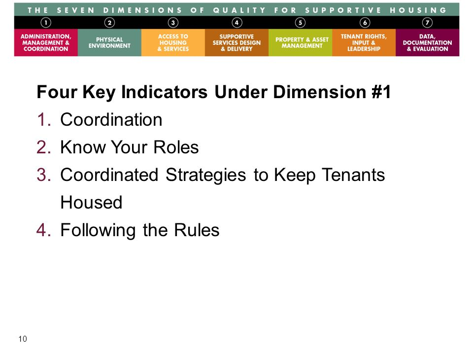 10 Graphics Four Key Indicators Under Dimension #1 1.Coordination 2.Know Your Roles 3.Coordinated Strategies to Keep Tenants Housed 4.Following the Rules