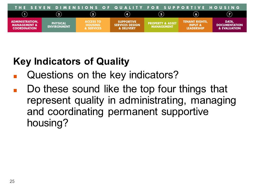 25 Key Indicators of Quality Questions on the key indicators.