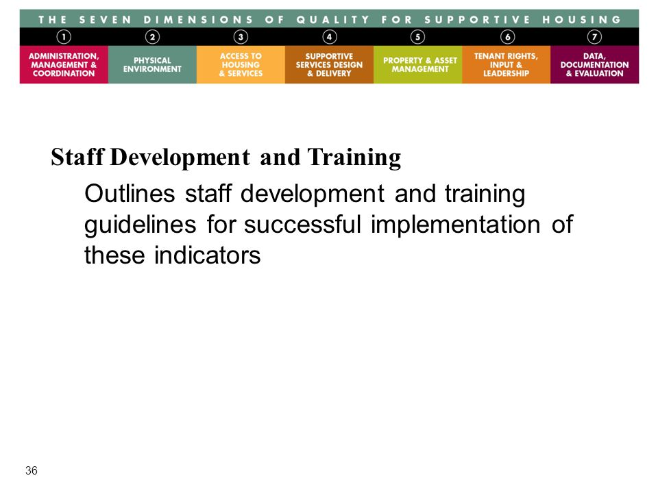 36 Staff Development and Training Outlines staff development and training guidelines for successful implementation of these indicators