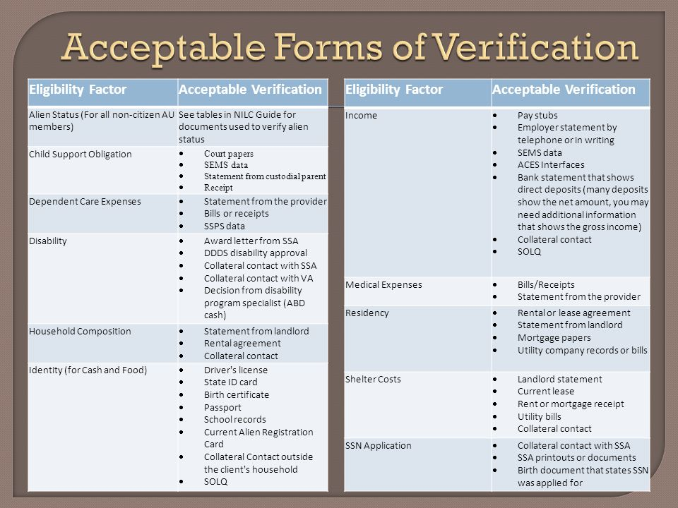 Eligibility FactorAcceptable Verification Alien Status (For all non-citizen AU members) See tables in NILC Guide for documents used to verify alien st