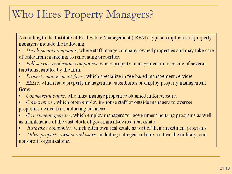 21-18 Who Hires Property Managers?