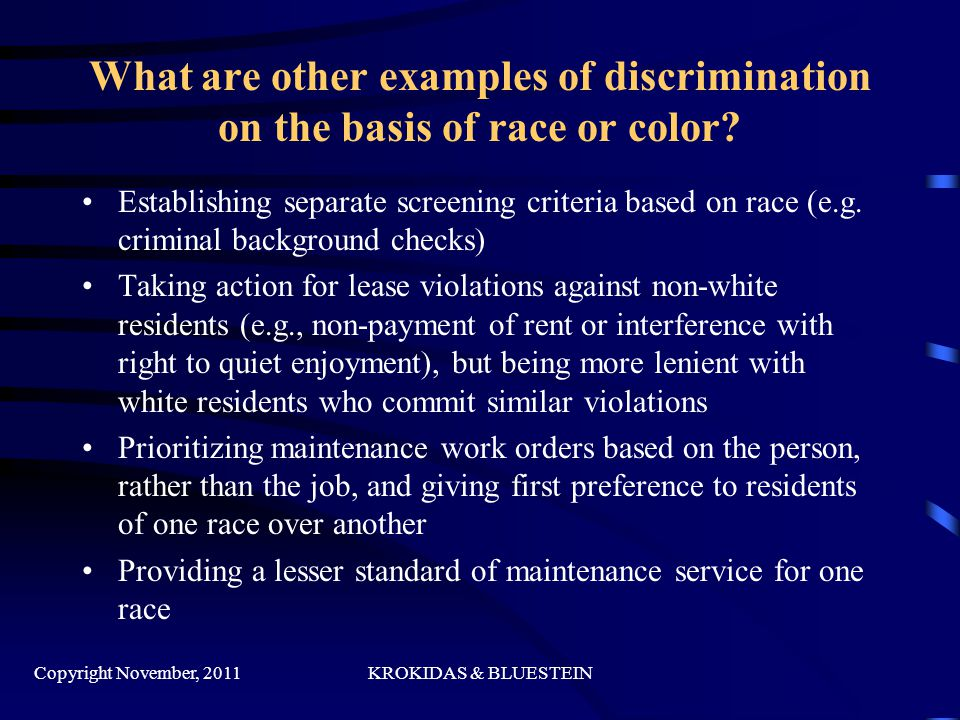 What are other examples of discrimination on the basis of race or color.