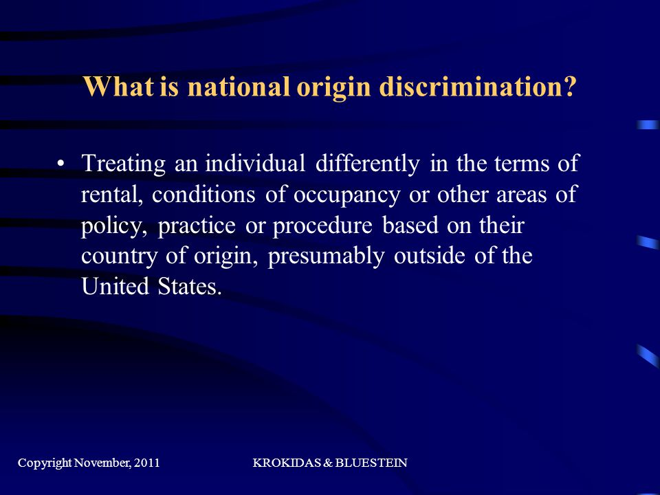What is national origin discrimination.