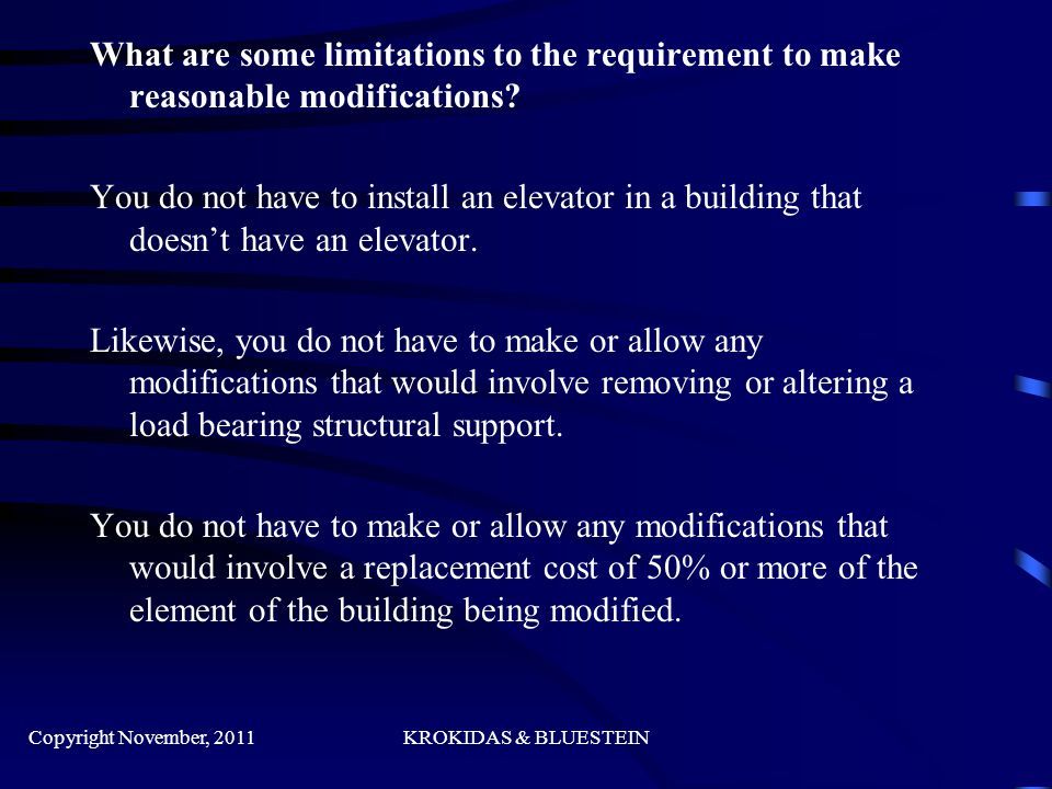 What are some limitations to the requirement to make reasonable modifications.