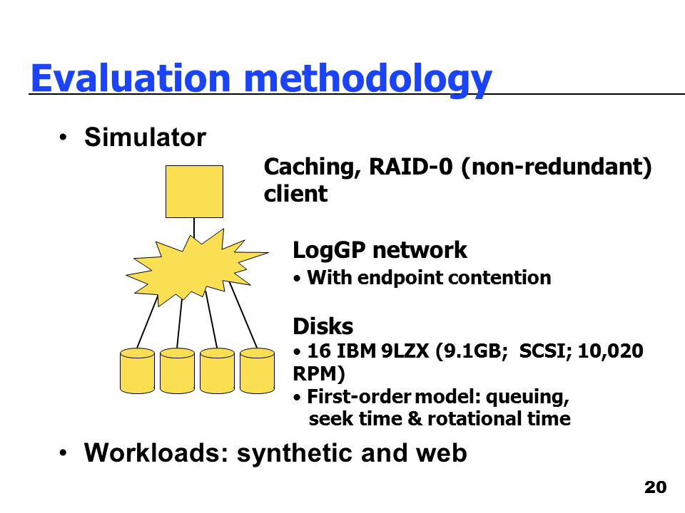 20 Evaluation methodology Simulator Workloads: synthetic and web Caching, RAID-0 (non-redundant) client LogGP network With endpoint contention Disks 1