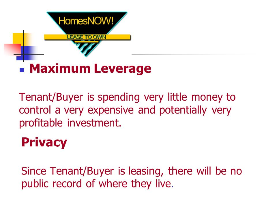Privacy Since Tenant/Buyer is leasing, there will be no public record of where they live.
