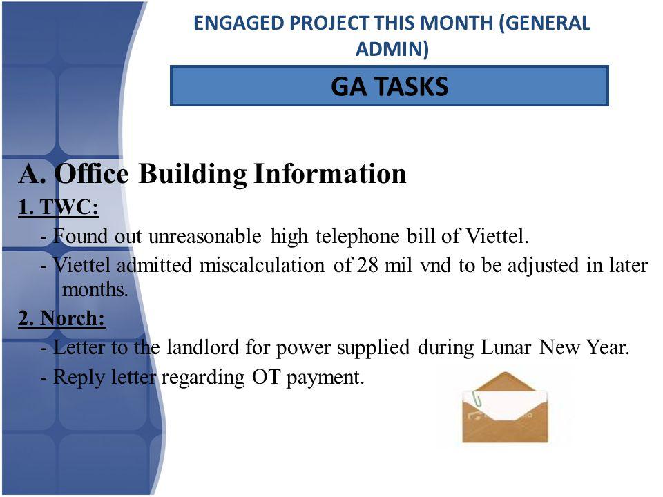 GA TASKS A. Office Building Information 1.