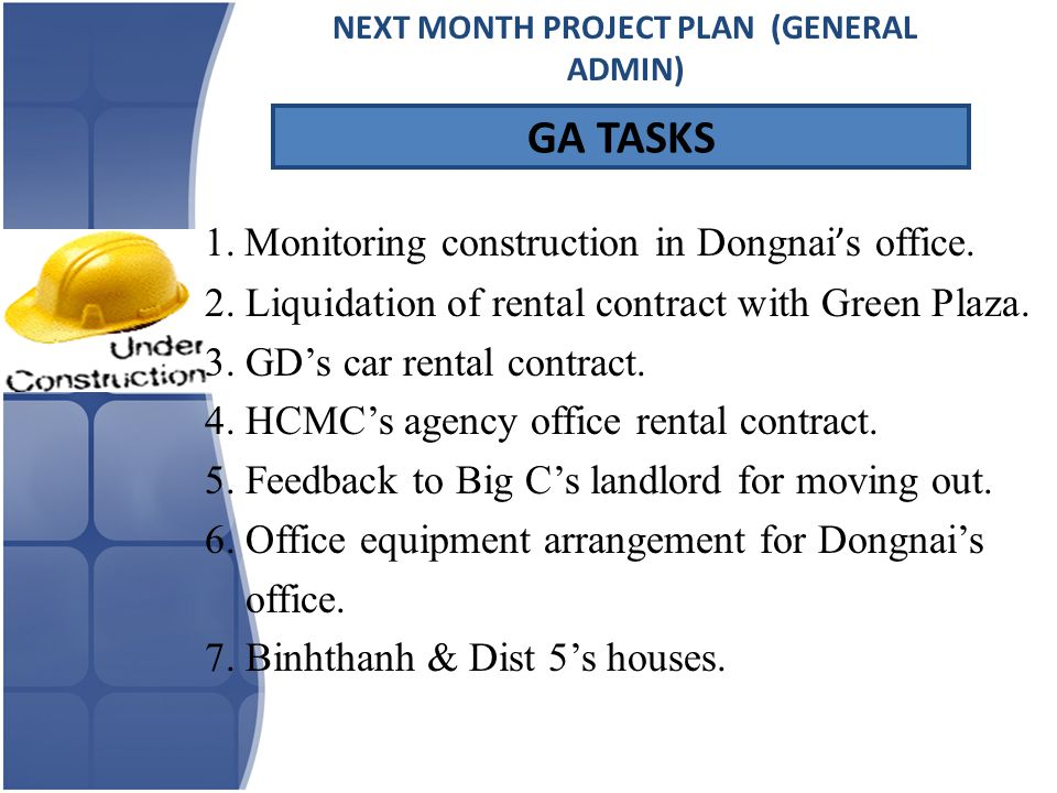 1.Monitoring construction in Dongnai ' s office. 2.