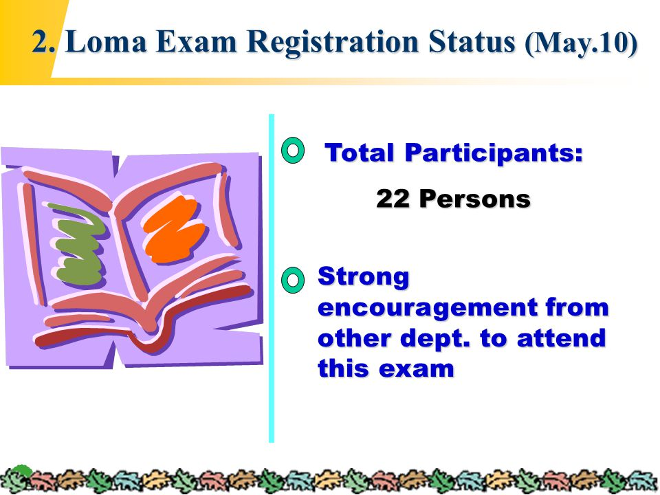 4 2. Loma Exam Registration Status (May.10) Total Participants: 22 Persons Strong encouragement from other dept. to attend this exam