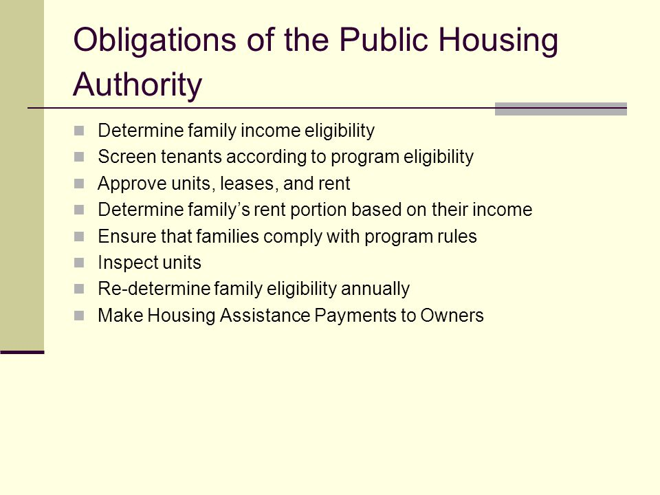 Obligations of the Public Housing Authority Determine family income eligibility Screen tenants according to program eligibility Approve units, leases,