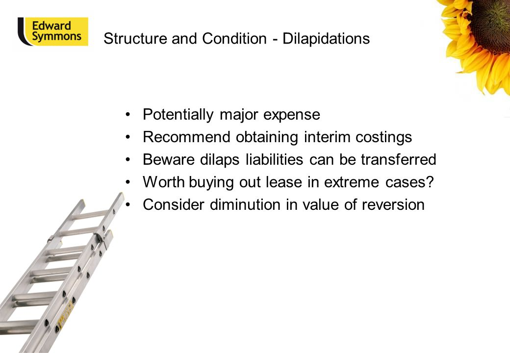 Structure and Condition - Dilapidations Potentially major expense Recommend obtaining interim costings Beware dilaps liabilities can be transferred Wo