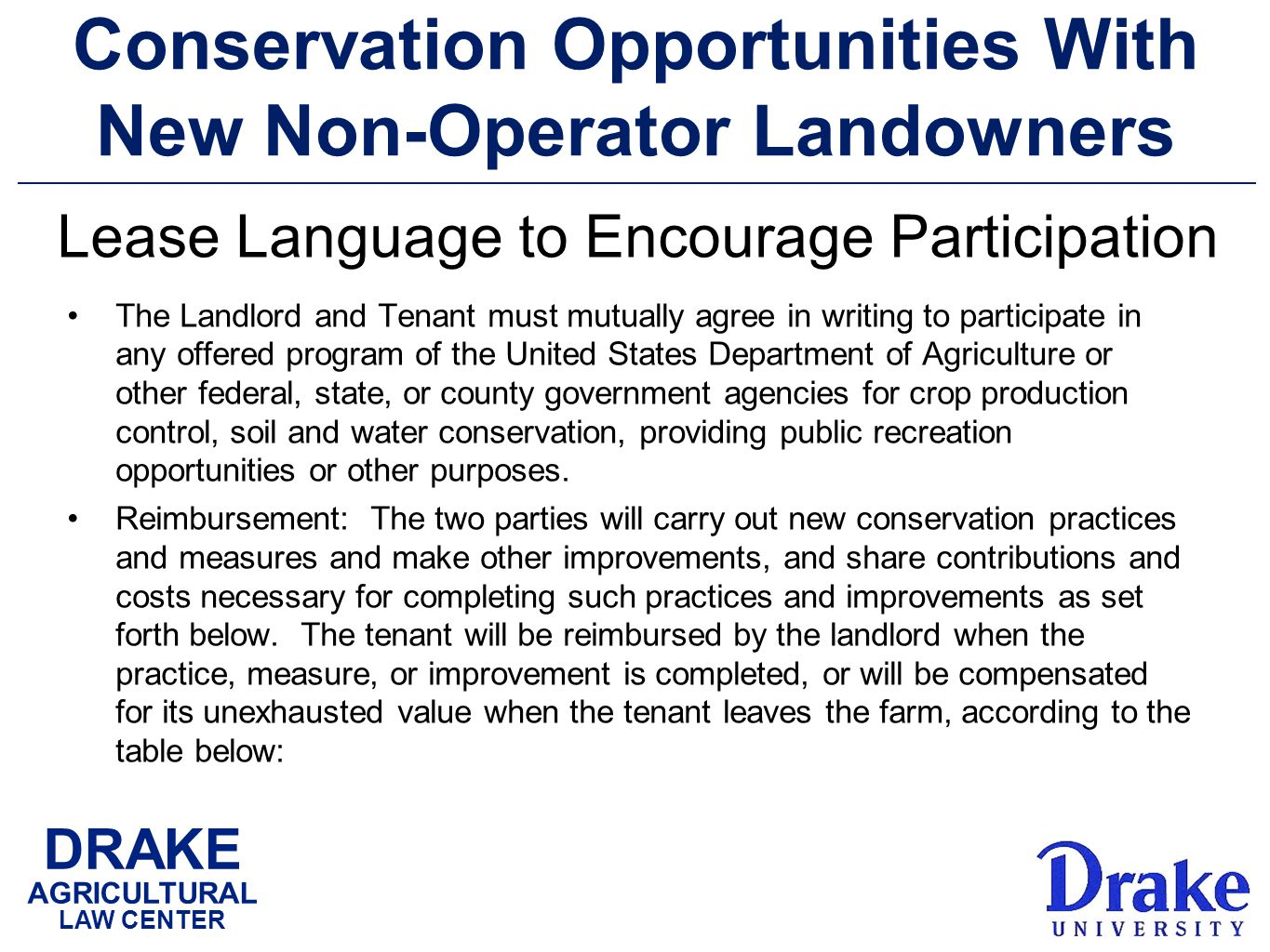 DRAKE AGRICULTURAL LAW CENTER Conservation Opportunities With New Non-Operator Landowners The Landlord and Tenant must mutually agree in writing to participate in any offered program of the United States Department of Agriculture or other federal, state, or county government agencies for crop production control, soil and water conservation, providing public recreation opportunities or other purposes.