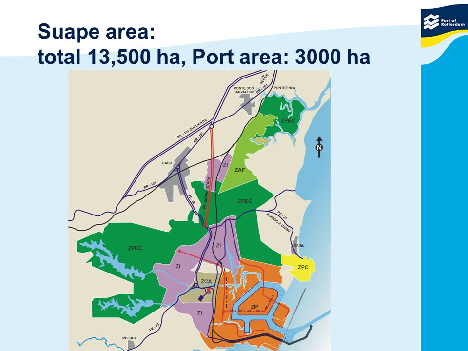 Suape area: total 13,500 ha, Port area: 3000 ha