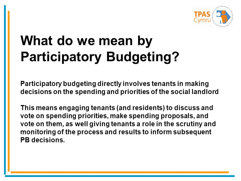 What do we mean by Participatory Budgeting.