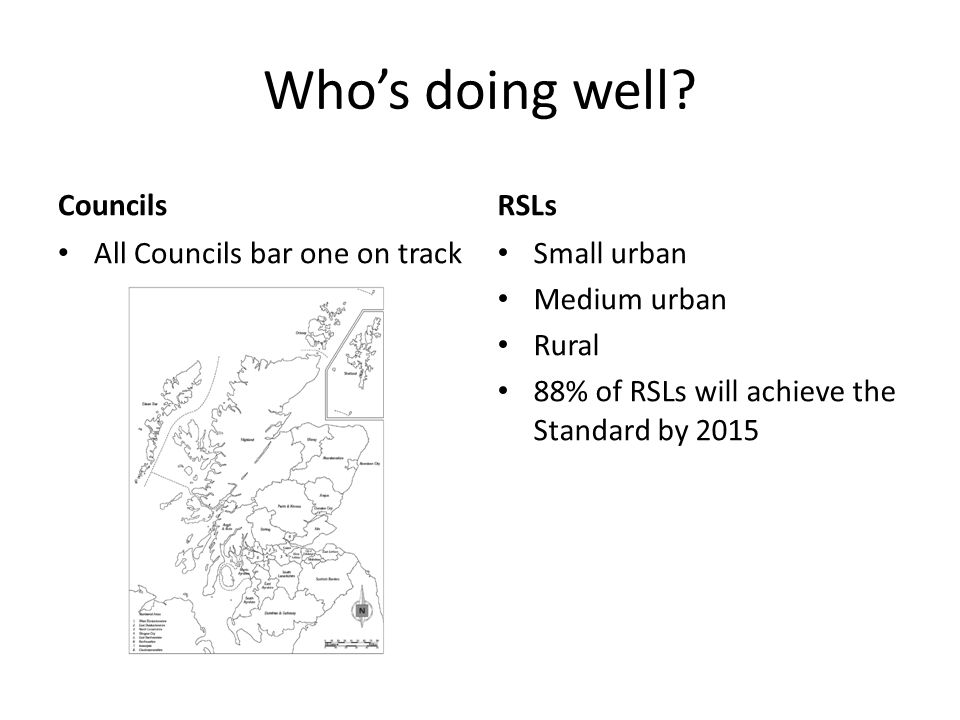 Who's doing well? Councils All Councils bar one on track RSLs Small urban Medium urban Rural 88% of RSLs will achieve the Standard by 2015
