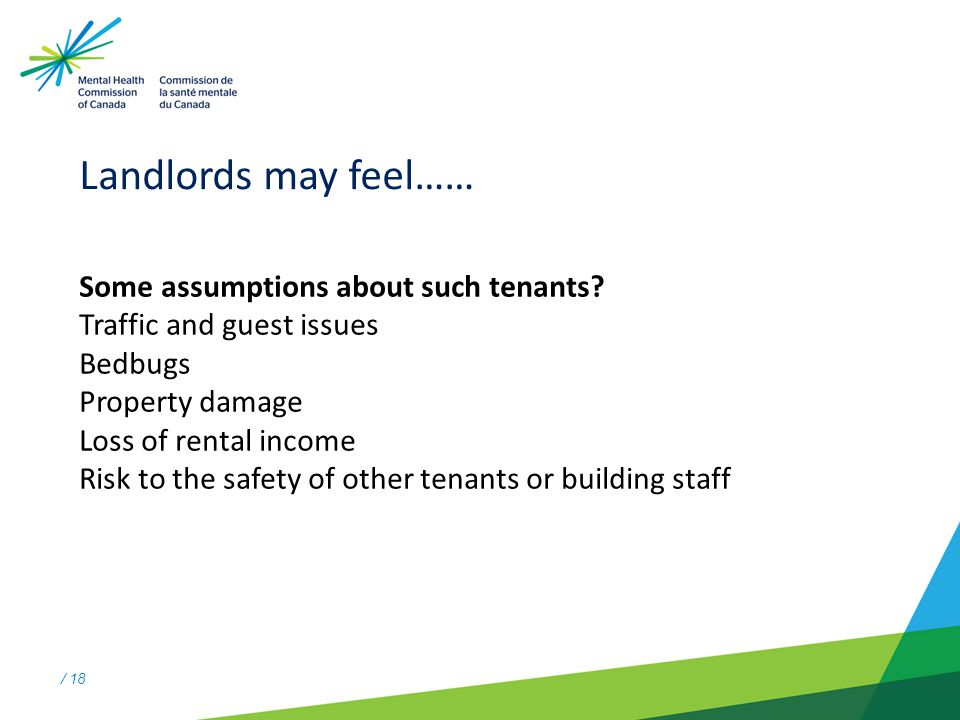 / 18 Landlords may feel…… Some assumptions about such tenants.