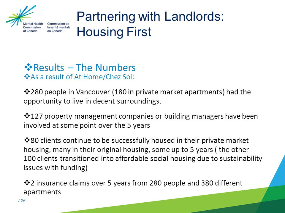 / 26 Partnering with Landlords: Housing First  Results – The Numbers  As a result of At Home/Chez Soi:  280 people in Vancouver (180 in private market apartments) had the opportunity to live in decent surroundings.